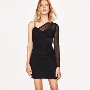 Zara one shoulder mesh body dress